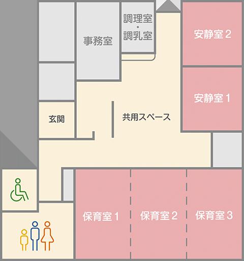 病児・病後児保育施設すとく建物見取り図